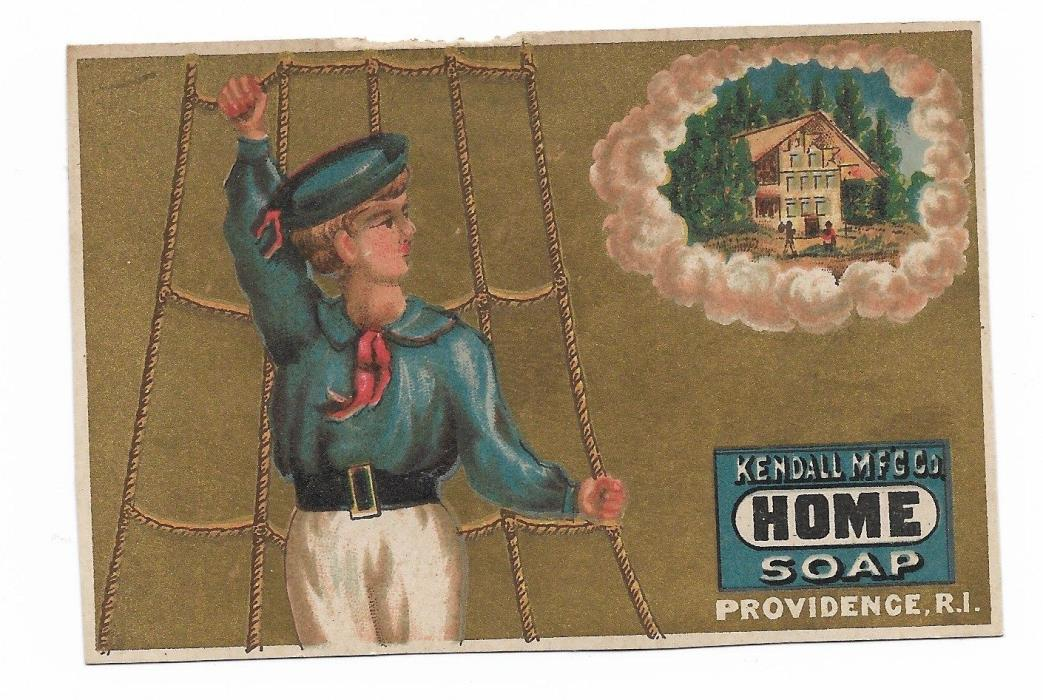 Kendall Mfg Home Soap Providence RI Sailor BoyDreaming of Home Vict Card c1880s
