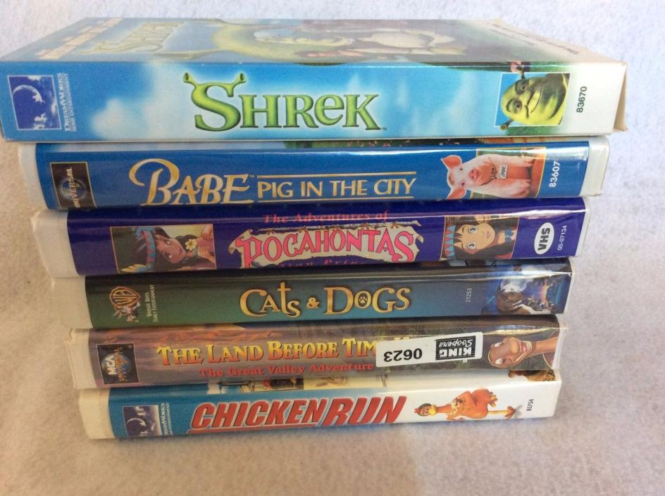 VHS Children's Movie Tapes - Lot of 6 in original cases