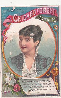 Chicago Corset Co ADELINA PATTI White & Wildes Skowhegan ME Vict Card c1880s