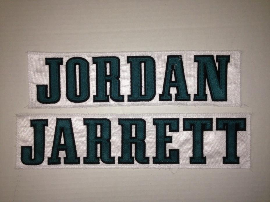 Philadelphia Eagles AKEEM JORDAN JAIQUAWN JARRETT Game Worn Jersey Nameplate NFL