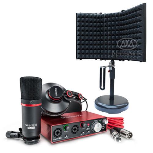 Focusrite Scarlett 2i2 USB Audio Recording Interface Studio Pack 2nd Gen with H