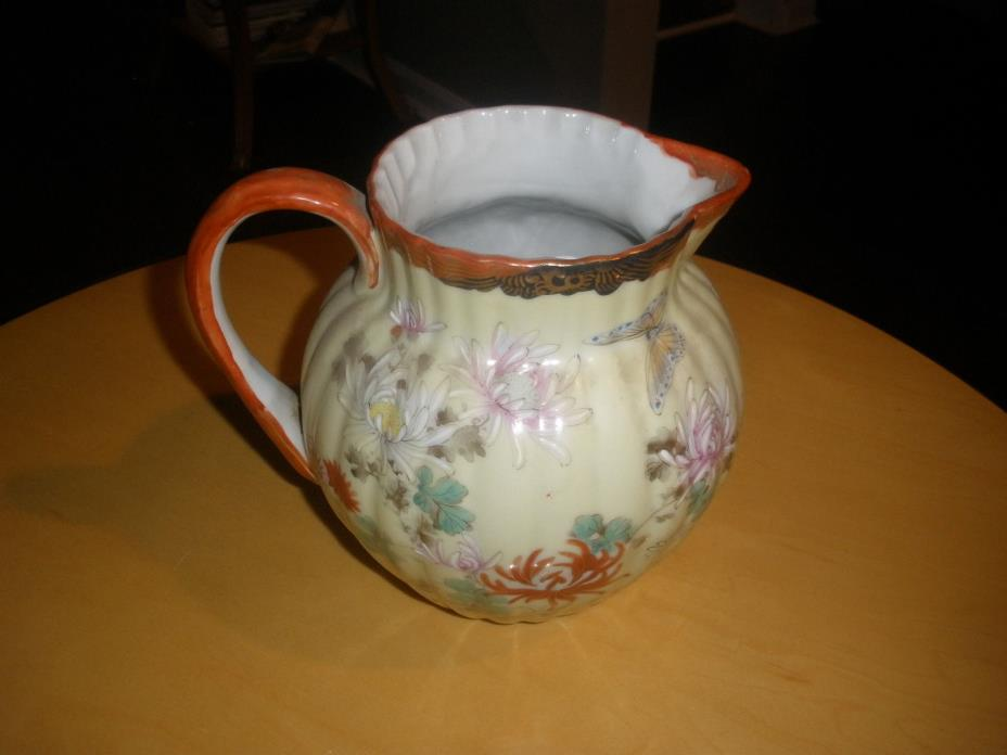 Antique Signed Japanese Porcelain Ribbed Pitcher Butterfly