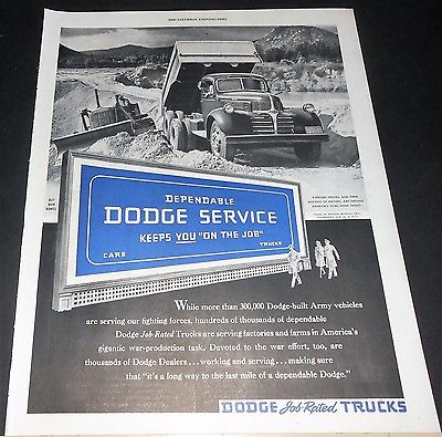 1944 Dodge dump truck serves home front WWII Ad // or Frigidaire refrigerator Ad