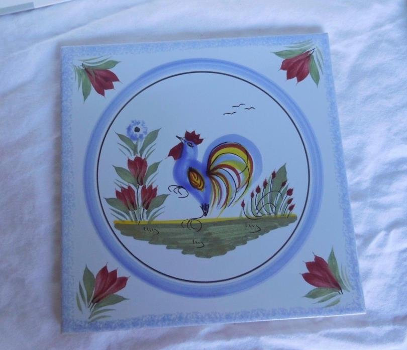 Vintage Henriot Quimper Tile Trivet Rooster EUC  5  3/4