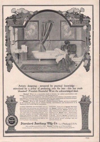 1906 STANDARD BATH TUB PORCELAIN ENAMEL ROOM HOME DECORVINTAGE AD 8156