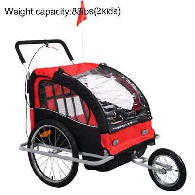 Deluxe 2-Child Steel Bicycle Accessories Toddle Bike Trailer Stroller RED HOT