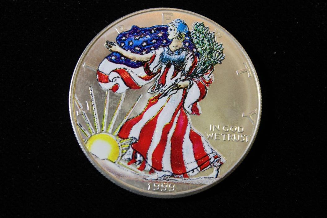 1999 UNITED STATES SILVER EAGLE PAINTED LADY BULLION COIN, 1 OUNCE ASW,