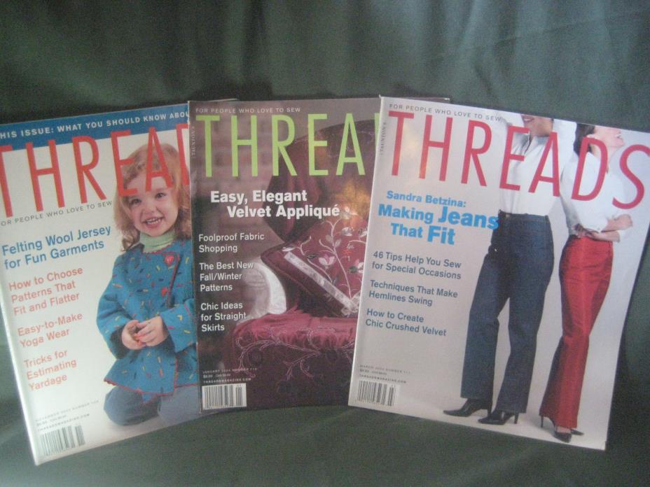 THREADS magazine vtg 2003/04 back issue LOT AB #109 110 111 sewing needlework