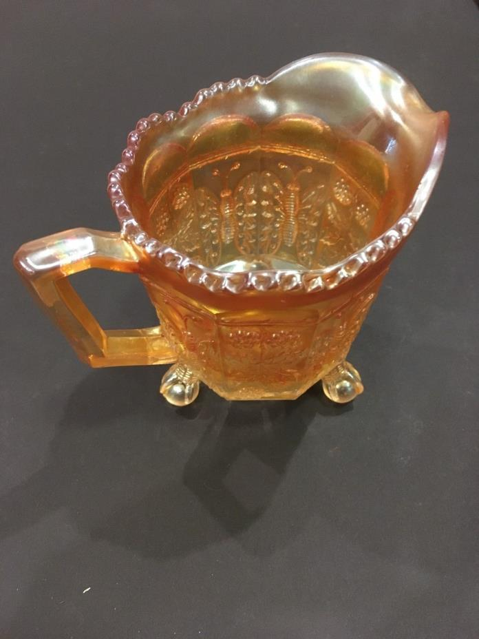 Fenton Butterfly and Berry Creamer, Marigold
