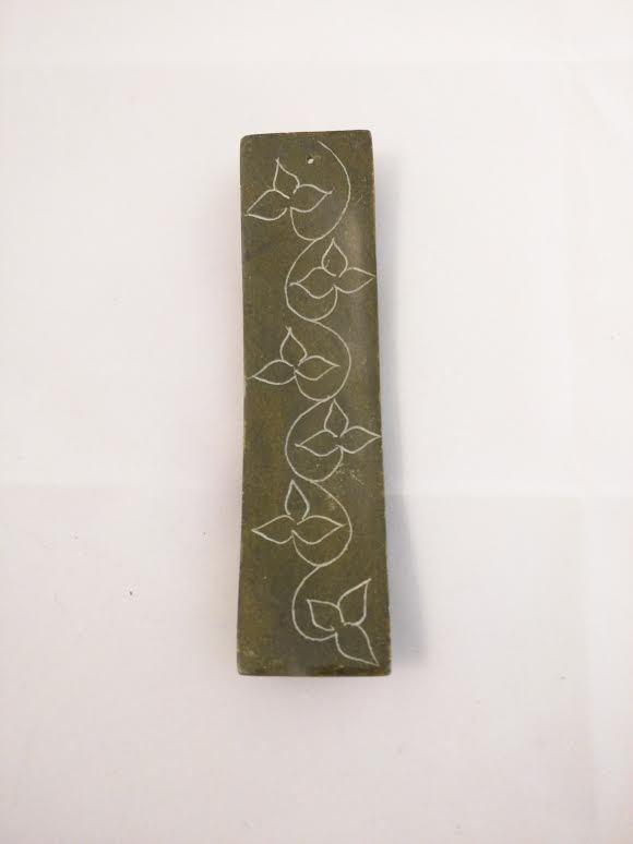 Floral Carved Soapstone Stick Incense Holder