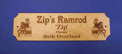 CUSTOM ENGRAVED BARREL RACER  HORSE STALL PLAQUE