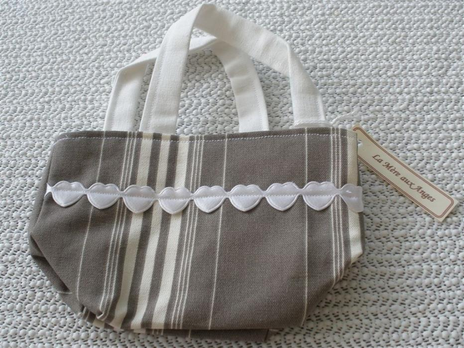French Country Style Girls Tote in a Striped Ticking Fabric