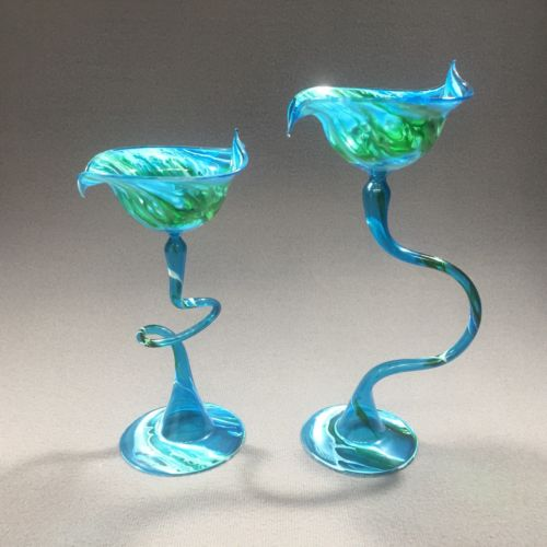 2 Flame Glow by Penco Hand-blown Glass Candle Holders Art Glass Blue White Green