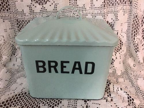 Enamel Bread Box Kitchen Vintage Look Aqua/Blue Metal Storage Bin Large Decor