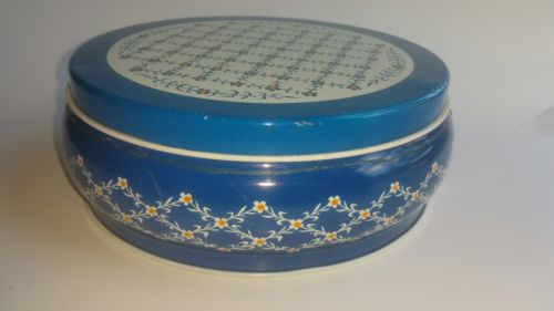 Vintage Floral Round Metal Decorative Tin Container Storage With Lid Blue  White