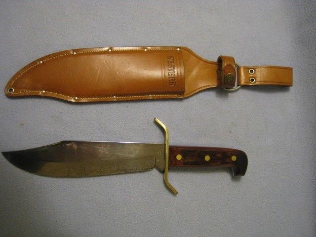 VINTAGE WESTERN W49-H LARGE BOWIE KNIFE WITH SHEATH