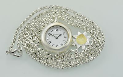 Fossil Chic Necklace Silver White Stainless Steel Easy Read WR Quartz Watch