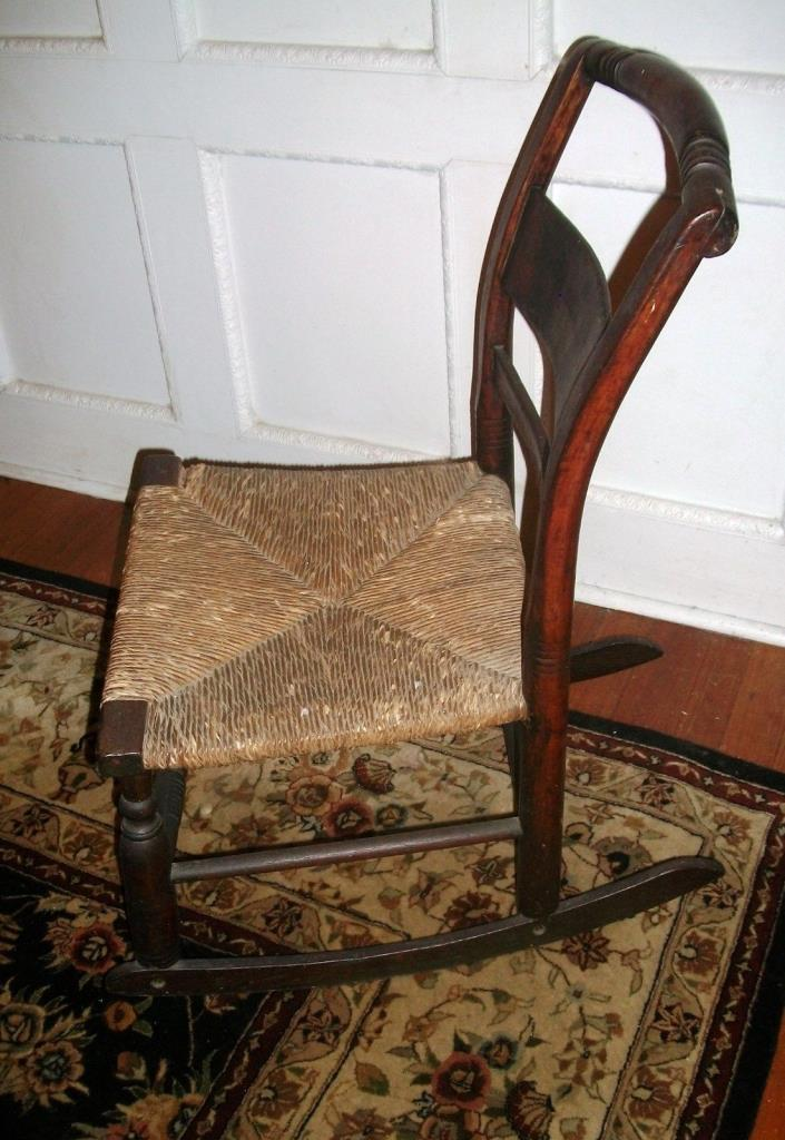ANTIQUE SHAKER CHILD'S ROCKING CHAIR-RUSH SEAT-GREAT PATINA