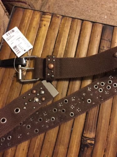Limited Too Girls Belt Brown Embellished Studded Woven Heavy Brown