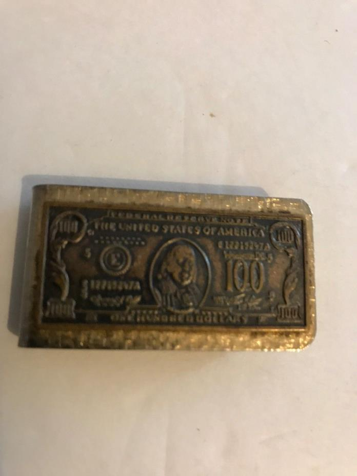GOLD TONE 100 DOLLAR BILL MONEY CLIP