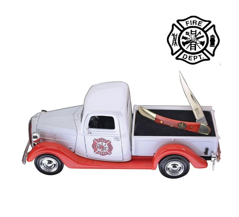 Firefighter Texas Toothpick Pocket knife Display Truck Gift set 1937 Ford Pickup