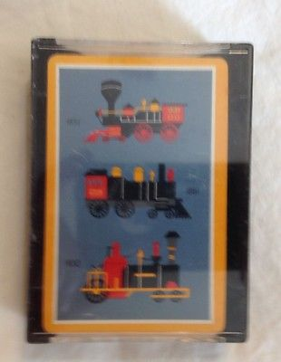 Vintage Steam Engine Trains Theme Playing Cards Pinochle Deck w/ Storage Case