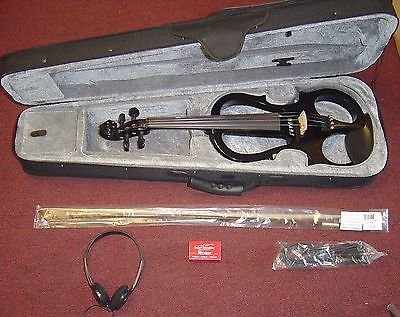 Fever VLE-BK Solid Wood Electric Violin with Ebony Fittings - Black