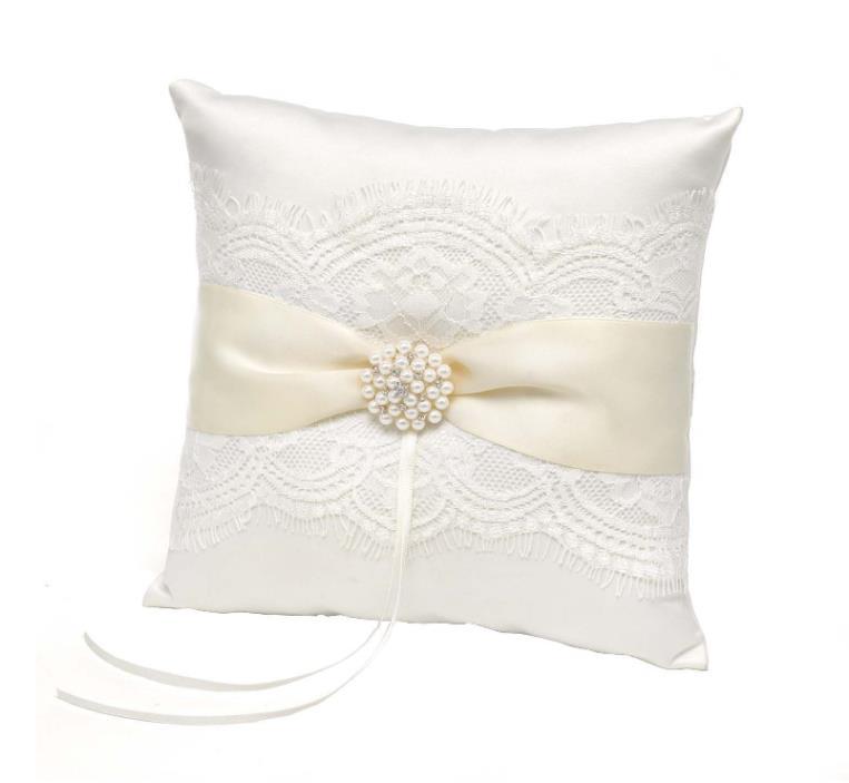 Vintage Ring Bearer Pillow Wedding Supplies Satin Ribbon Elegant Lace Stylish