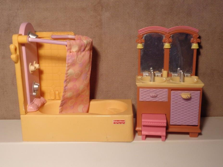 FP Loving Family Dollhouse Bathroom Set Shower Tub Double Sink Vanity 2006 (DH2)