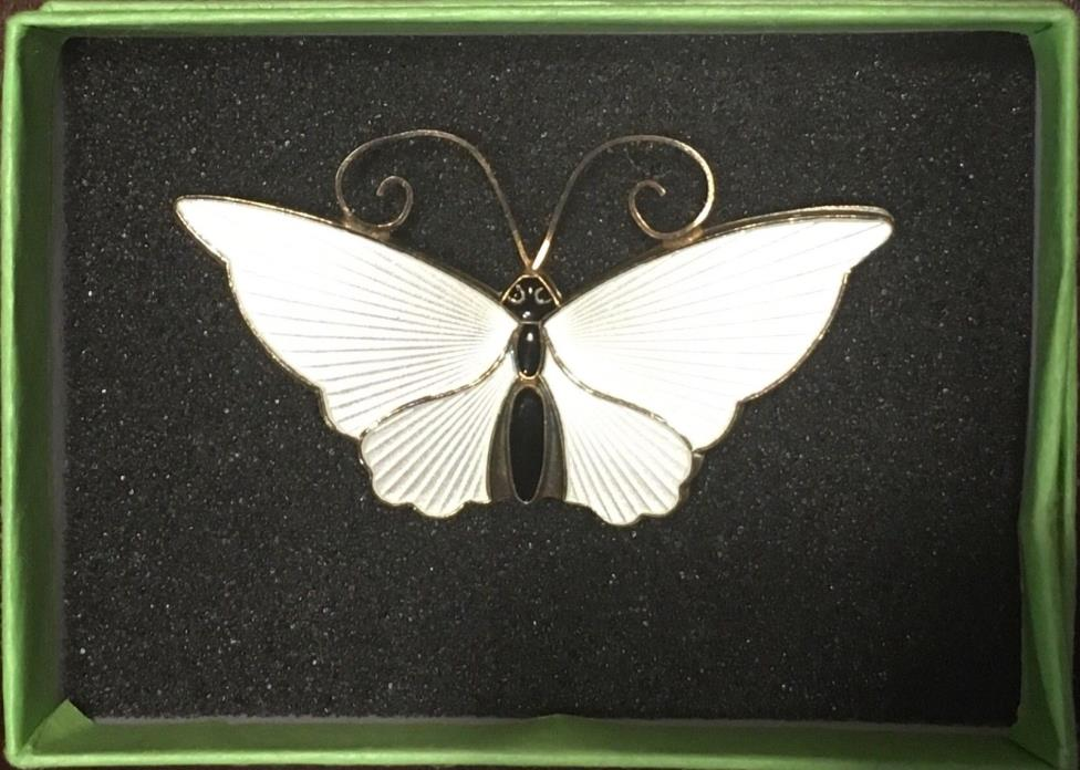 SALE! 10% off!David Andersen Sterling Silver Enamel Butterfly Brooch White Large