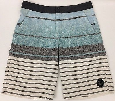 VALOR Men's Teens Boys Youth Blue Gray Striped Board Shorts Size 18 Actual 29W
