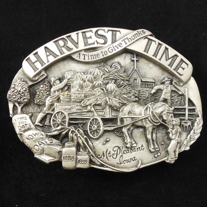 Vintage 1985 Harvest Time  Belt Buckle Farmer Farm Pumpkins Limited Ed #303/2500