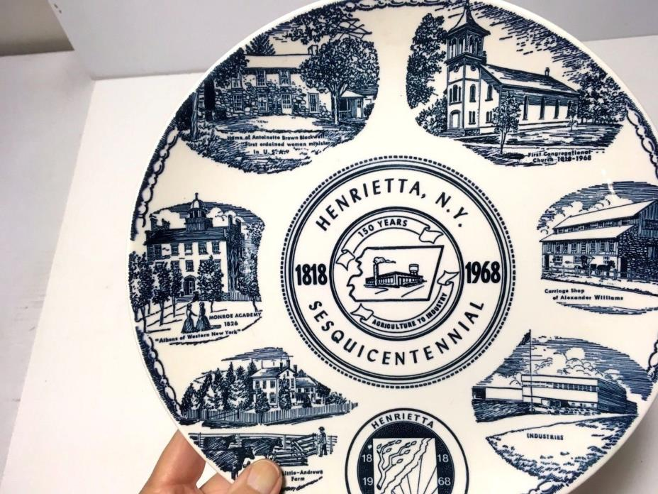 VINTAGE RETRO 150TH SESQUICENTENNIAL HENRIETTA NY COLLECTOR PLATE 1818-1968