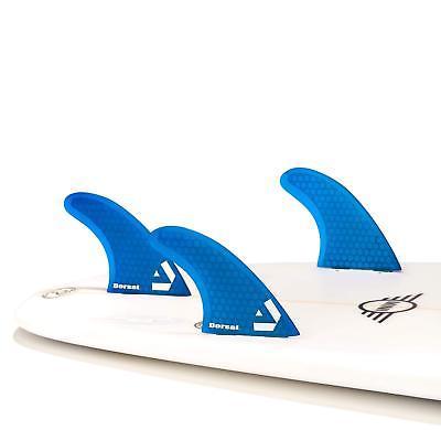 Dorsal Surfboard Fins Hexcore Thruster Set (3) Honeycomb FCS Base Blue