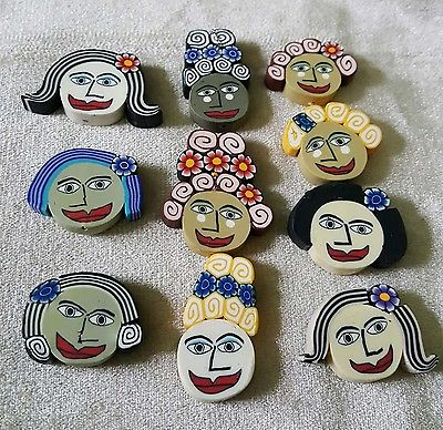 Ladies of the World Fimo Polymer Clay Face Faces Beads  10  !!