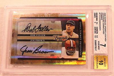 2008 Donruss Sports Legends Signature Collection Jim Brown Bob Feller BGS  25/25