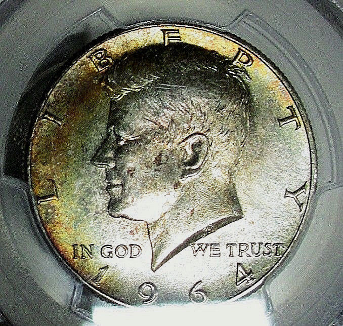 1964 PCGS MS65 KENNEDY SILVER HALF DOLLAR! *RAINBOW* COLOR TONED BEAUTY!