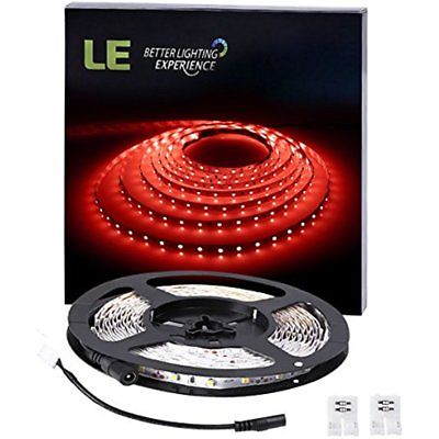 LE 16.4ft Flexible LED Light Strip, 300 Units SMD 2835 LED, Red, Non-waterproof,