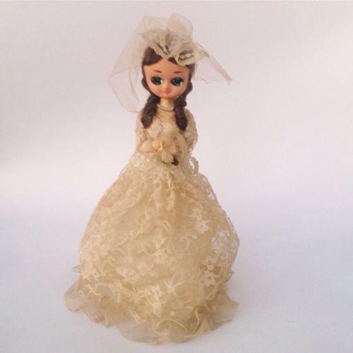 Vtg Bradley Bride Doll Big Eyes Wedding Dress Bridal Veil Vintage 60s 70s 80s
