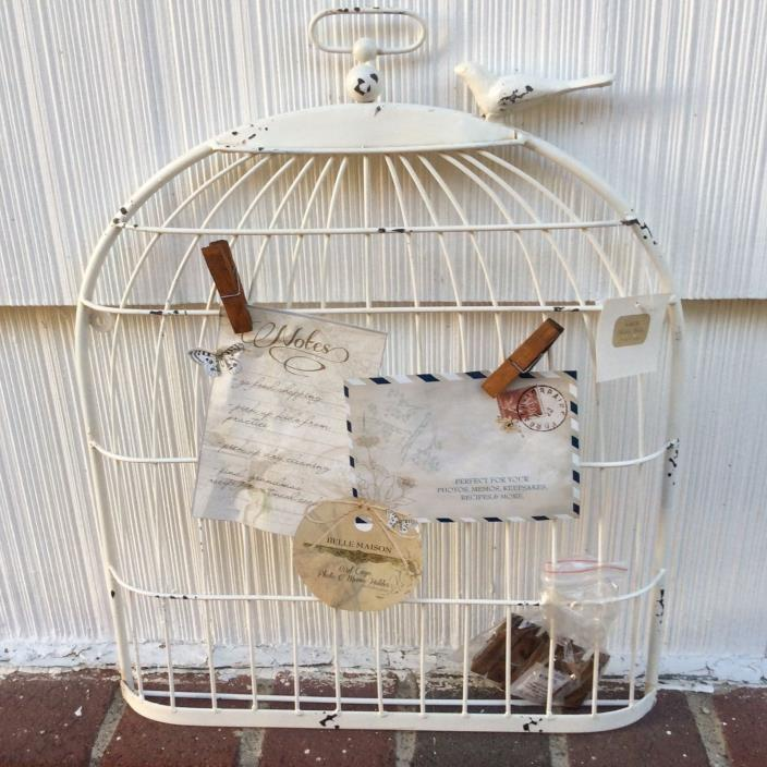 Shabby Chic Metal Bird Cage Memo Photo Holder w-Clips French Decor NEW!
