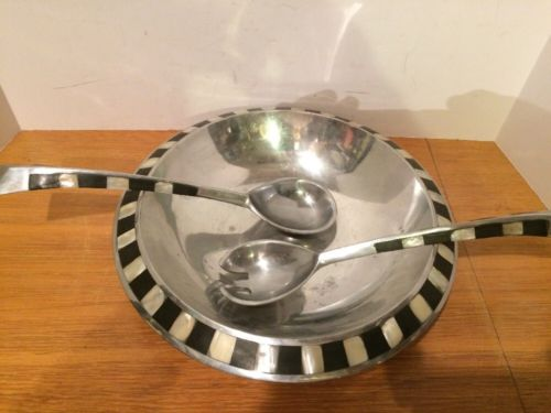 Towle Silversmiths Aluminum Large Serving Bowl & 2 Spoons Modern W/ Inlay