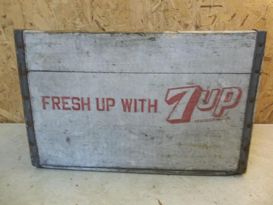 Fresh Up With 7Up - Vintage Wooden Soda Crate - Red Color