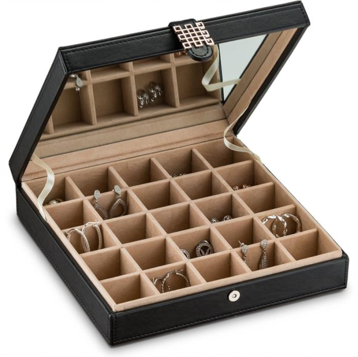 Glenor Co Earring Organizer - Classic 25 Section Jewelry Box / Case / Holder for