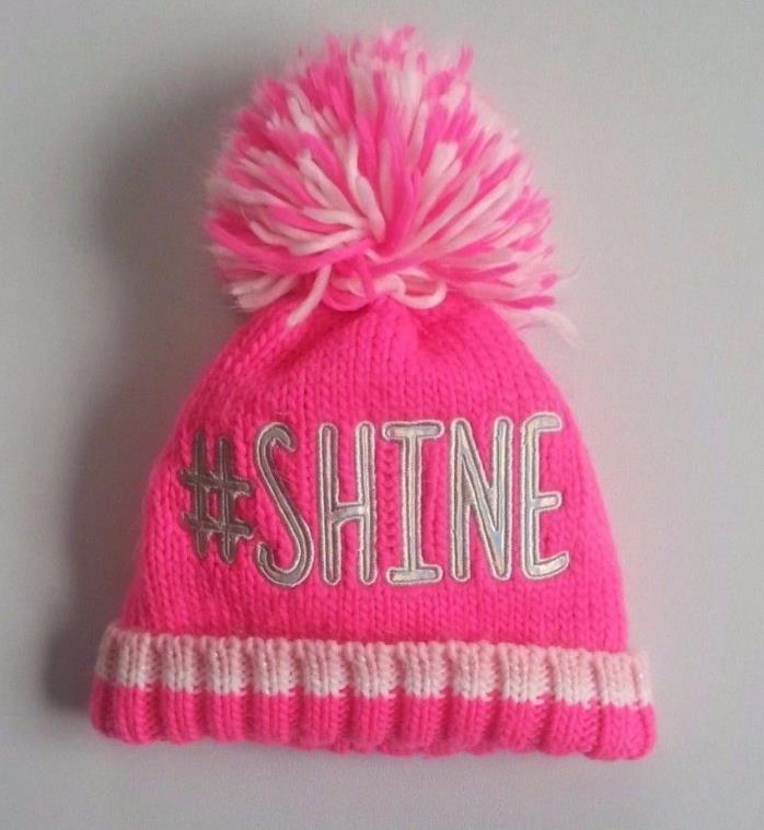 girls size 4-7 Pink SPARKLES # SHINE KNIT WINTER HAT CHILDRENS PLACE Pom Pom