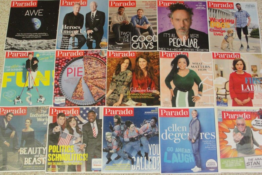 HUGE Lot of 69 PARADE MAGAZINE Weekend Newspaper Supplement 2016-2017