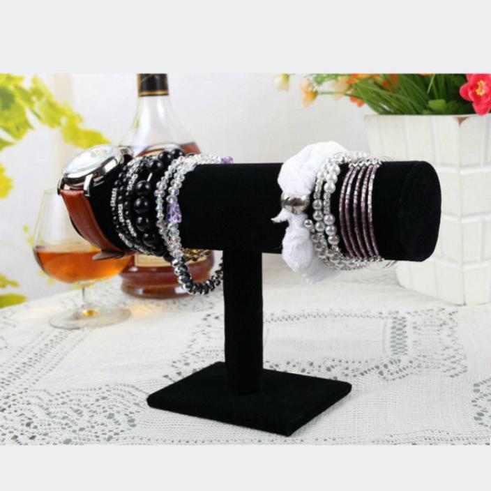 23cm High Quality Vintage Black Velvet Bracelet T-Bar Rack Jewelry organizer