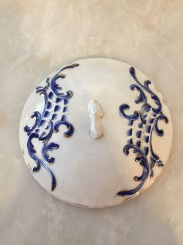 Early Ironstone Blue and White Chamber Pot Lid - Gold Accents