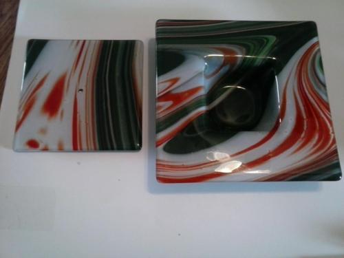 2 Glass Swirled Orange Green White Dishes Vintage MCM