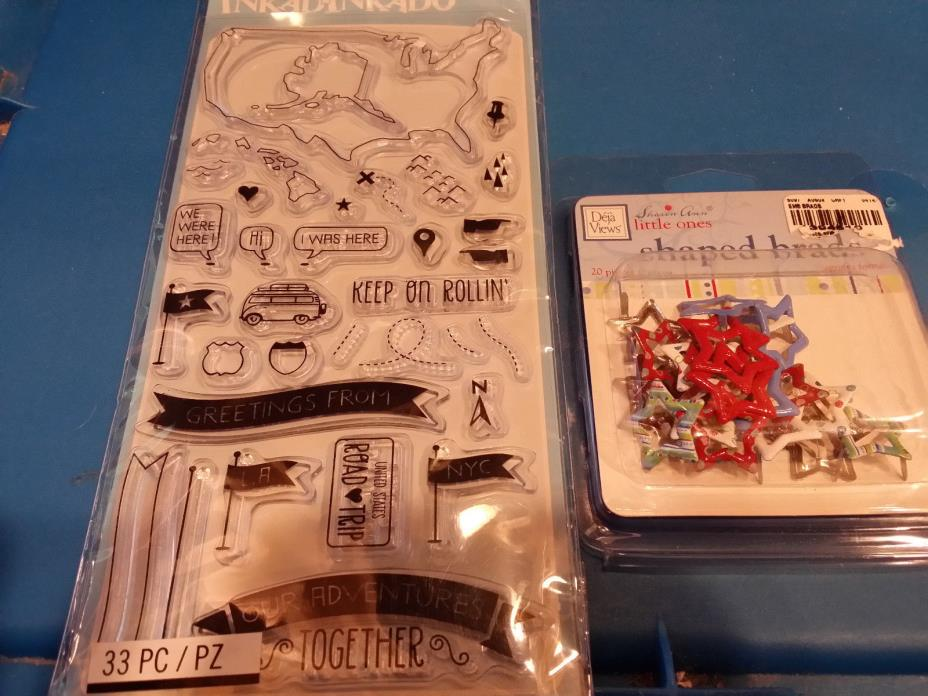 Inkadinkado - Travel Clear Stamps and Star Shapped Brads