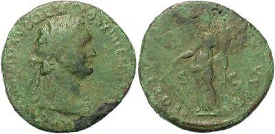 FORVM Domitian Copper As Rome 87 AD Fortune Holding Rudder and Cornucopia f